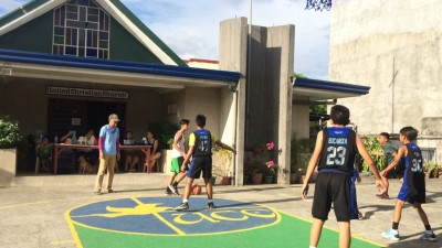 Bro. Ramil as referee - Bible Basketball League Committee